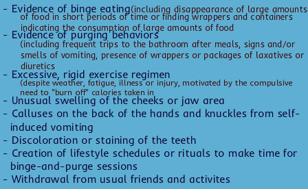 bulimia warning signs