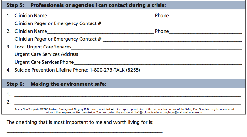 Safety Plan Template – Safety Plan Worksheet